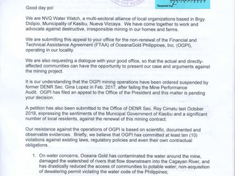 Didipio Watch petition for the Non-Renewal of the OceanaGold Philippines FTAA in Nueva Vizcaya