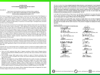 Cagayan Advocates for Integrity Creation (CAIC) open letter against Cagayan offshore mining.