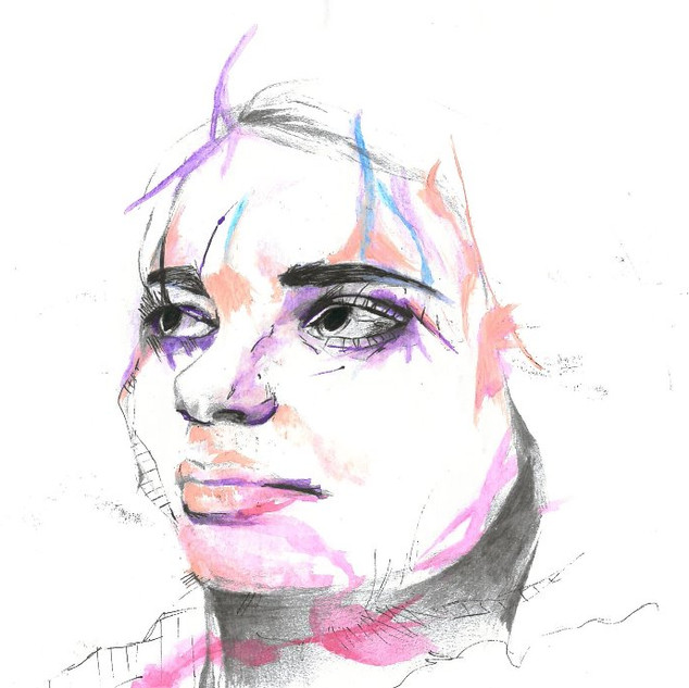 Paint, pencil & pen piece