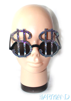 Sliver Dollar Sign Glasses