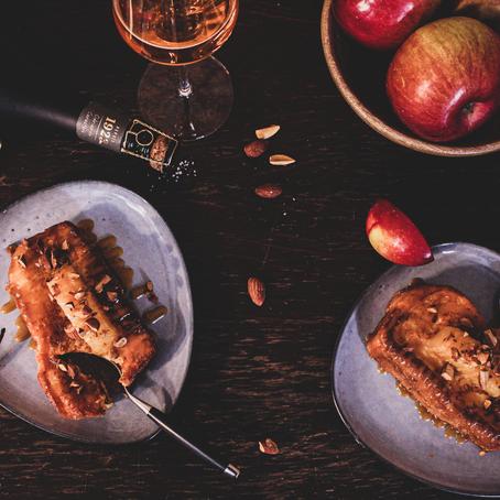 Un Dessert qui fait du bien au moral : Brioche Perdu, Caramel de Cidre, Pomme confite et Amandes