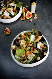 Salade, Figue,Chèvre frais et Huile de Pistache