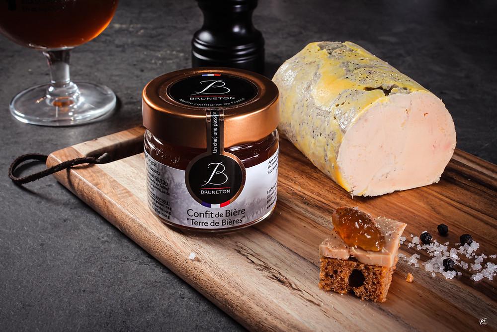 Ballotin de Foie gras, confit de bière rousse Terre de bières paind'épice bière rousse caladoise