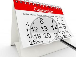 Calendário primeiro semestre de 2017