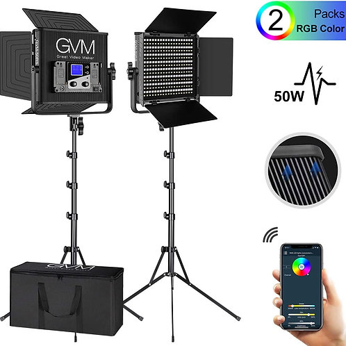 GVM 50RS RGB Video Lights with APP Control 50W 2-Lights Kit with Stands