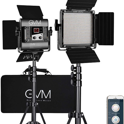 GVM 560 LED Dimmable Bi-Color Video Lighting 2 Lights Kit with free APP Control