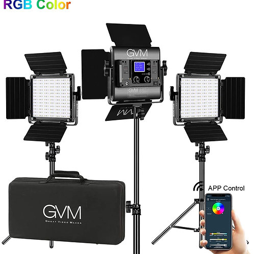 GVM 800D RGB Video Lights with APP Control 40W 3-Lights Kit with Stands