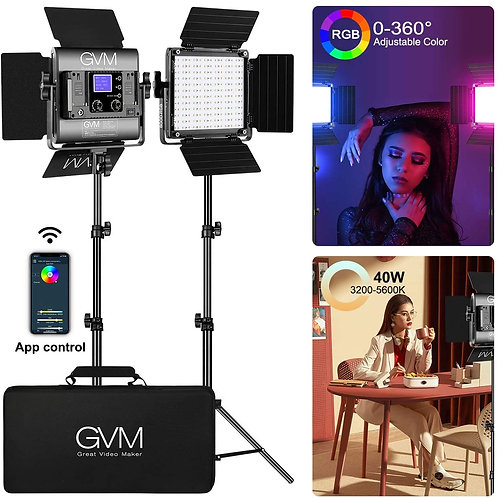 GVM 800D RGB Video Lights with APP Control 40W 2-Lights Kit with Stands