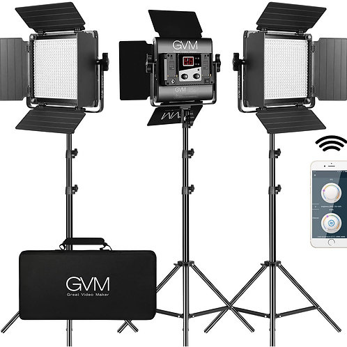 GVM 560 LED Dimmable Bi-Color Video Lighting 3 Lights Kit with free APP Control