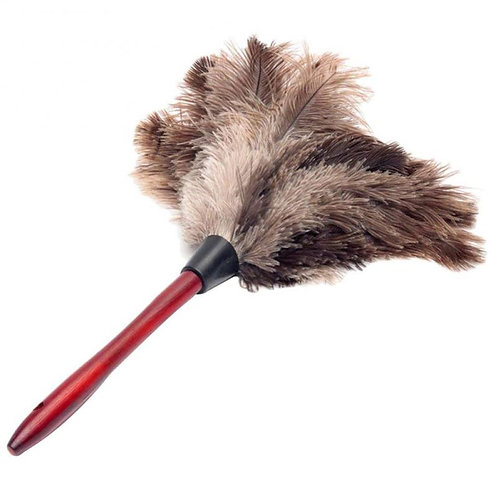 1PC Dusting Duster Anti-Static Ostrich Feather Fur Wooden Handle