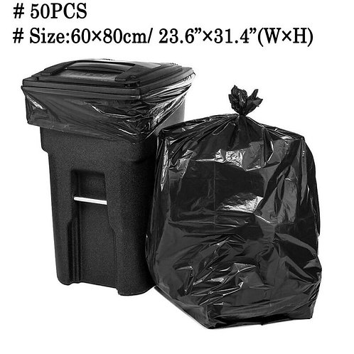 50 Pack 18 Gallon Large Heavy Duty Garbage Waste Trash Can Toter Bags 60x80cm