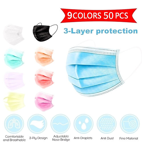 50pcs Mask Disposable Nonwoven 3 Layer Ply Filter Mask Mouth Face Mask Filter