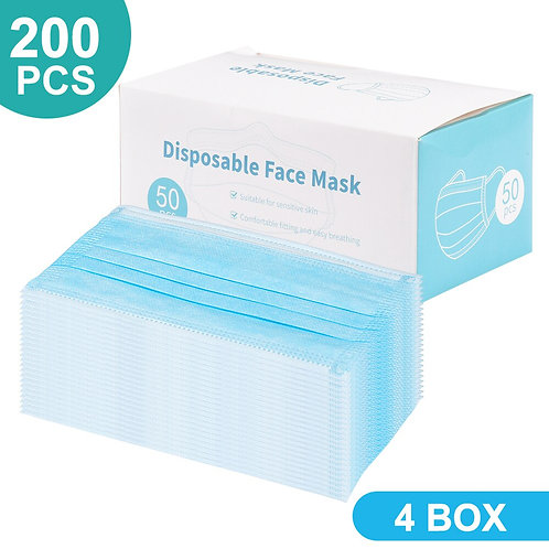 200 PCS Disposable Face Mask 3 Layer Mouth Mask