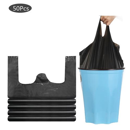 Disposable Garbage Bag Kitchen Rubbish Bags Black Plastic Drawstring