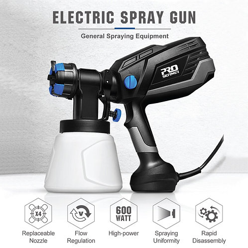 600W Electric Spray Gun 4 Nozzle Sizes 1000ml HVLP Household Paint Sprayer