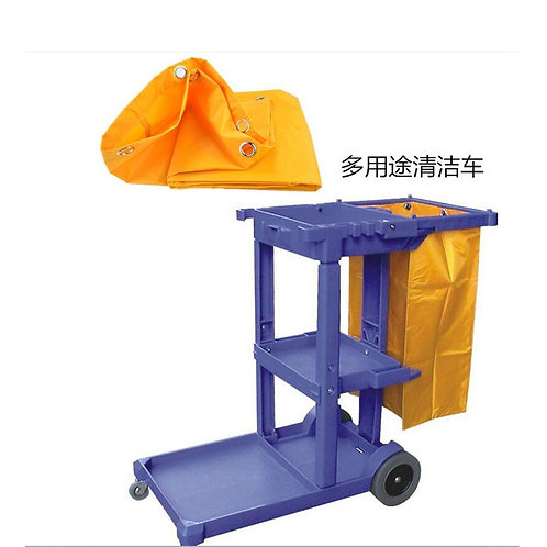 Janitorial Cart Cleaning Tool Waterproof Cart Storage Bag 40x28x69cm Yellow
