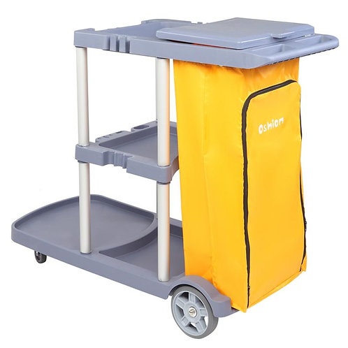 Silent Roller Wheel Janitorial Cart Commercial Housekeeping(Yellow Grey)