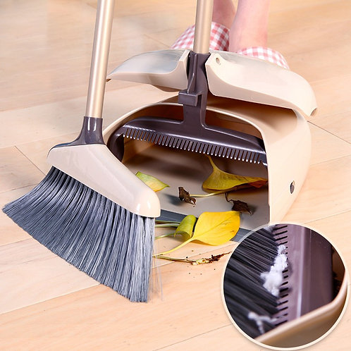 Broom and Dustpan Set Long Handle & Teeth for Upright Sweep Kitchen Home