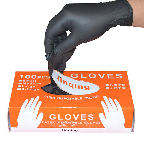 100Pcs/Box Black Disposable Nitrile Gloves Powder Free