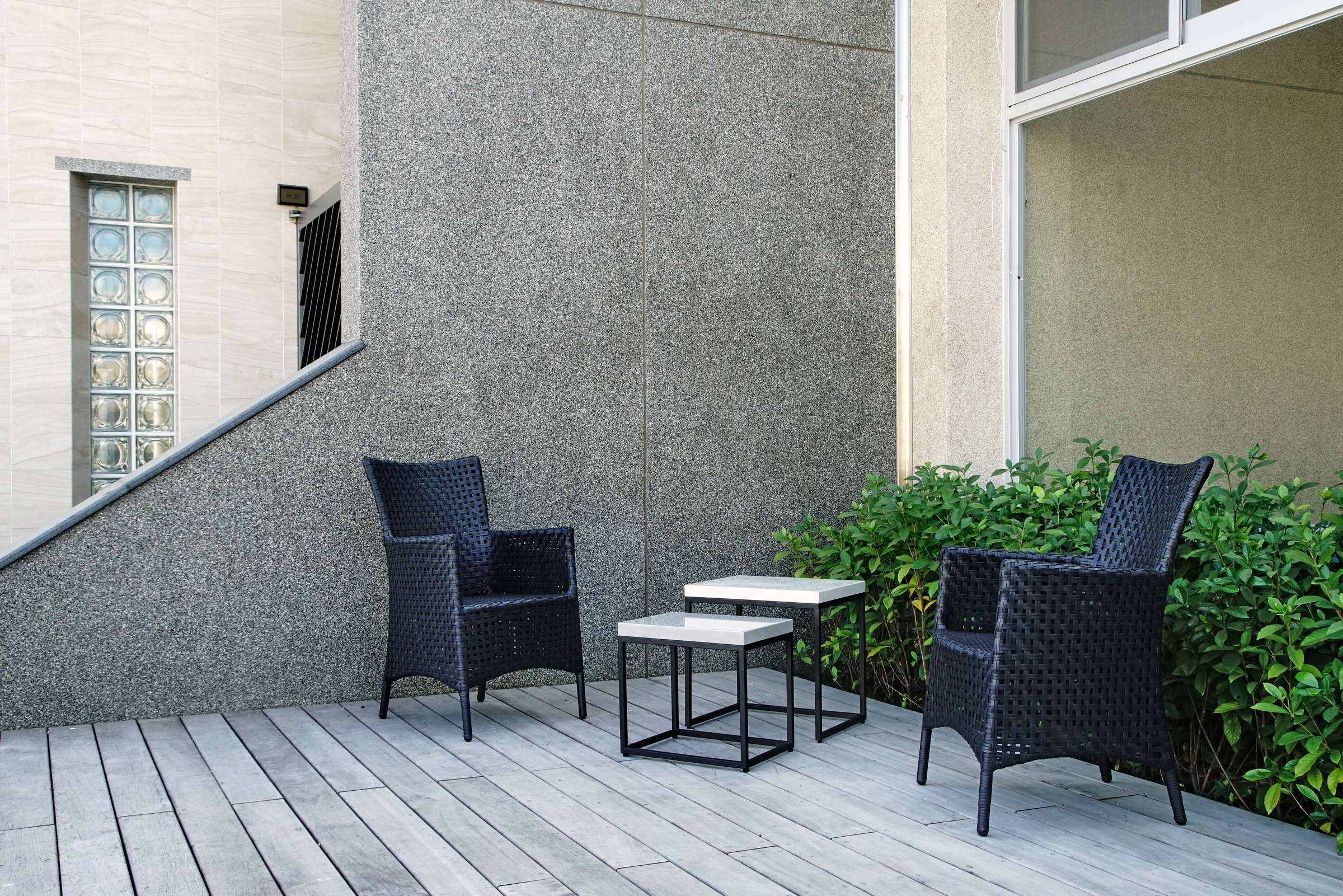 綠合系列簍空黑色編籐扶手椅+子母茶几