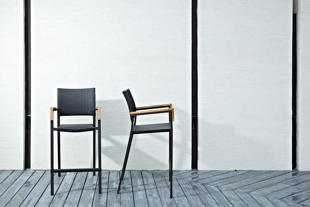 巴西高腳椅 原木色/黑色