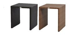 ㄇ型編藤桌 黑色/原木色