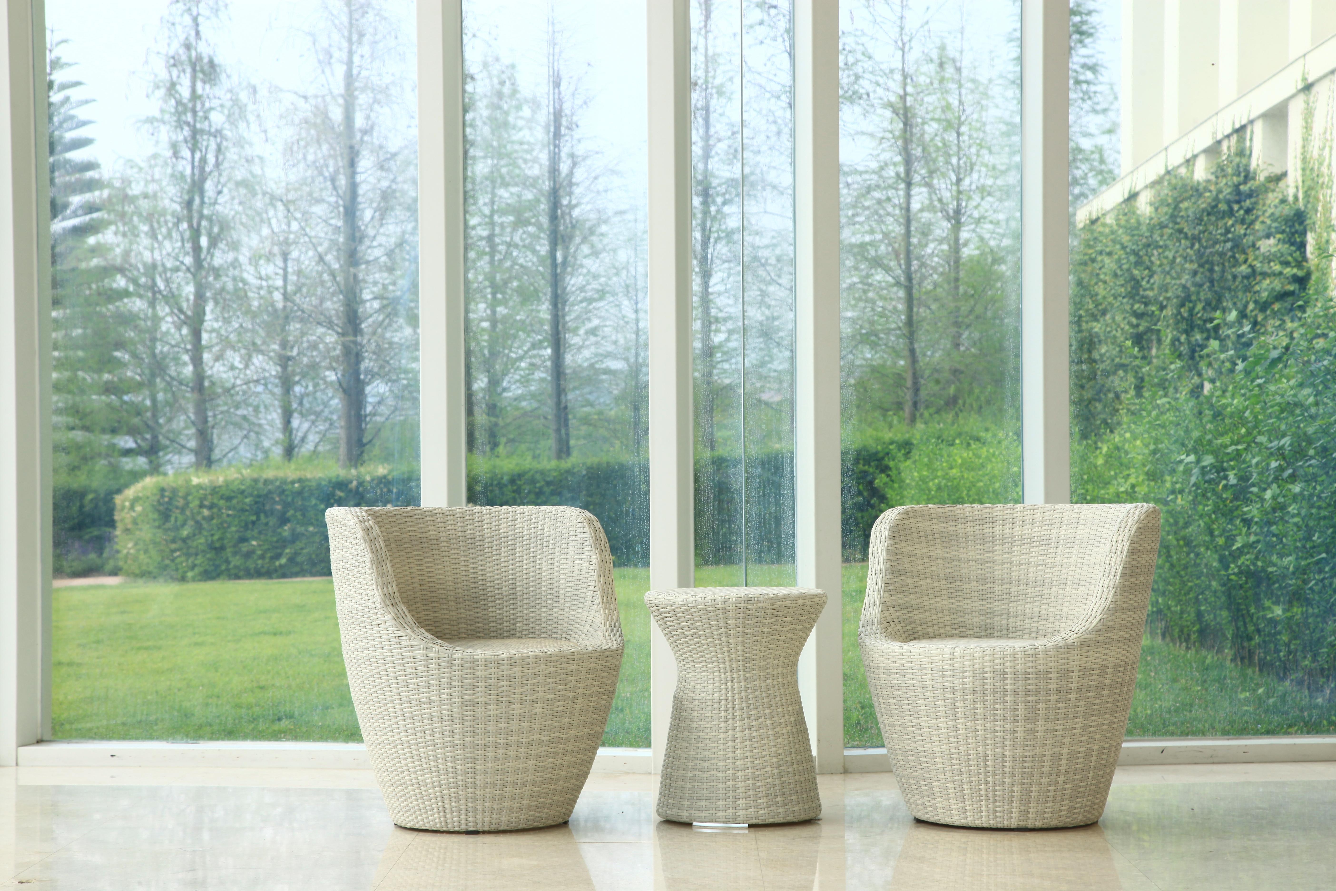 鵝卵石系列休閒椅/白色+非洲鼓小原桌