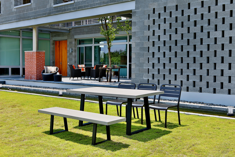 Lavastone系列 梯形長桌/梯形長椅/鋁板餐椅