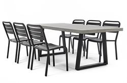 Lavastone梯型石板戶外餐桌+黑色鋁板椅