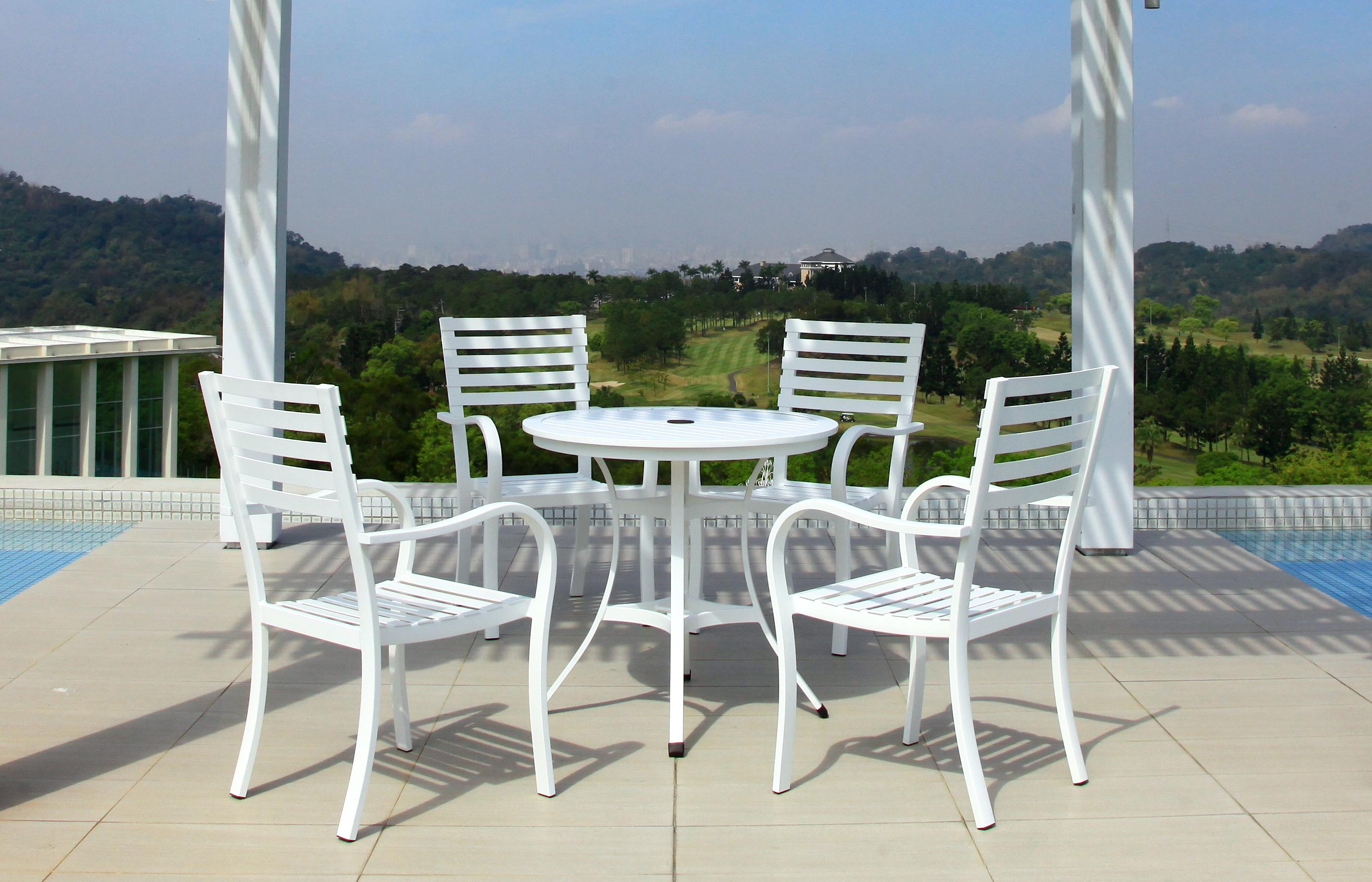 綠地系列 白色鋁板桌椅組