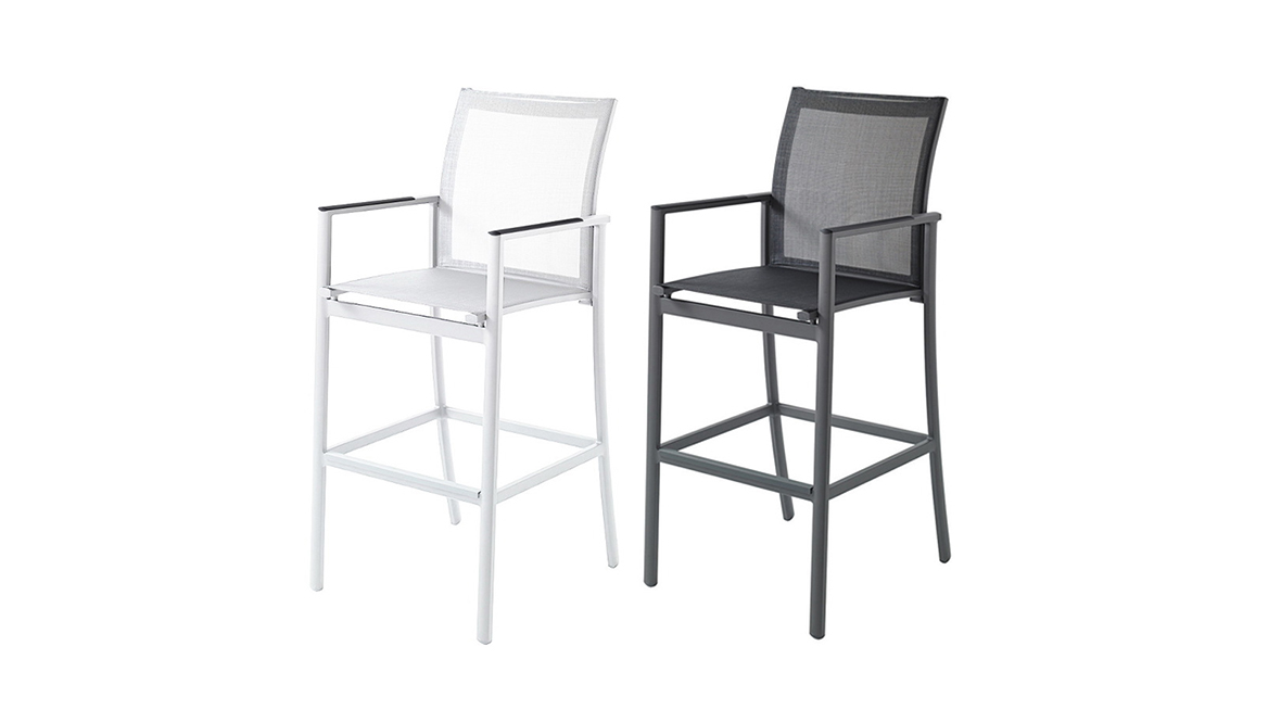 網布高腳椅 黑色/白色