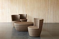 蓓蘿系列休閒椅 / 原木色+橢圓桌