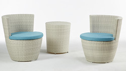圓桶茶几/白色+蓓蘿系列休閒椅