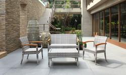 羅馬系列桌椅組 灰白編藤