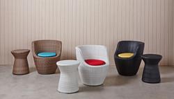 鵝卵石系列休閒椅 原木色/白色/黑色+非洲鼓小圓桌