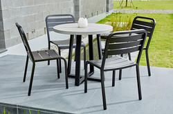 Lavastone系列 圓桌/黑色鋁板餐椅