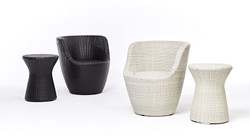 鵝卵石系列休閒椅組+非洲鼓小圓桌 黑白色