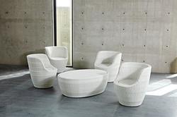白色鵝卵石桌椅組