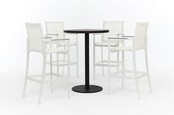 Lavastone系列吧檯圓桌+網布高腳椅/白色