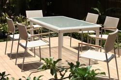 坎伯爾二 / 白色編藤桌椅組
