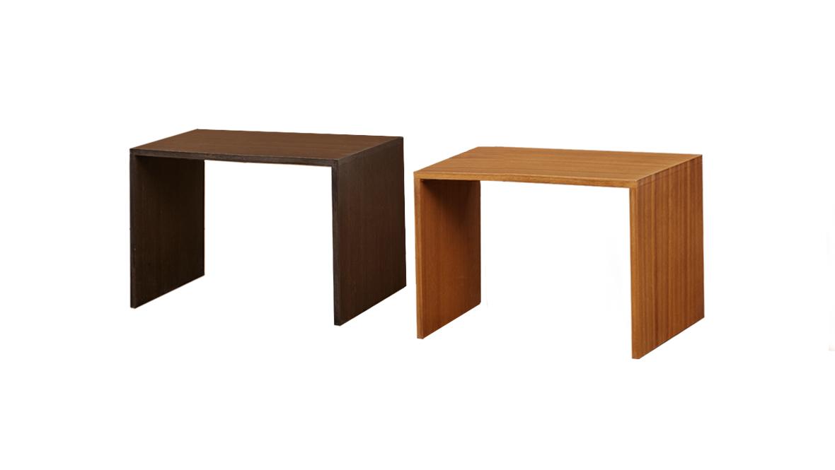 ㄇ型塑木桌 黑色/原木色