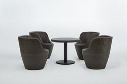 鵝卵石系列休閒椅 石板色/一桌四椅