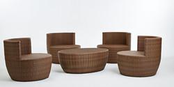 安杰洛斯系列休閒椅+橢圓椅 原木色