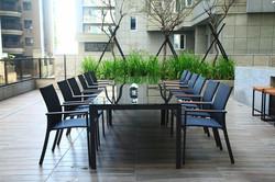 網布系列 黑色玻璃長桌 / 黑色網布扶手椅