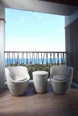 圓桶茶几/白色+鵝卵石系列休閒椅