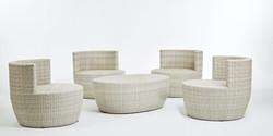安杰洛斯系列休閒椅+橢圓椅 白色