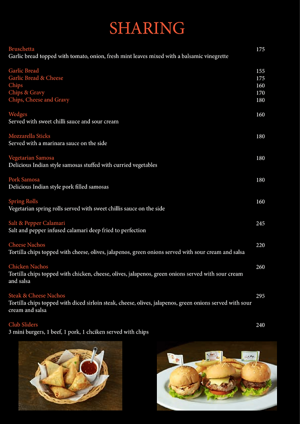 The Clubhouse Food Menu