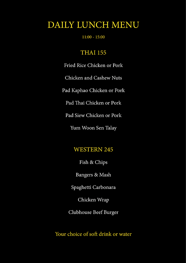 The Club House Food Menu
