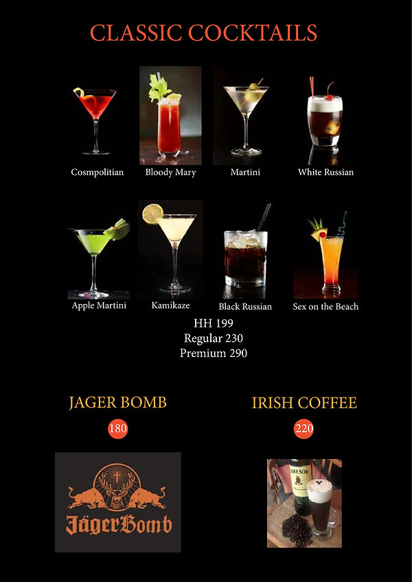 The Clubhouse Drinks Menu