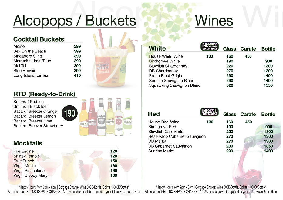 Mulli's Drinks Menu